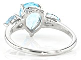 Sky Blue Topaz Rhodium Over Sterling Silver Ring 2.09ctw