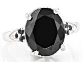 Black Spinel Rhodium Over Sterling Silver Ring 5.60ctw