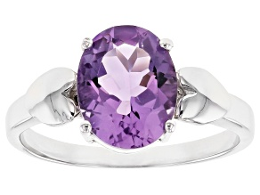 Purple Brazilian Amethyst Rhodium Over Sterling Silver Ring 2.40ct