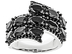 Black Spinel Rhodium Over Sterling Silver Ring 5.85ctw