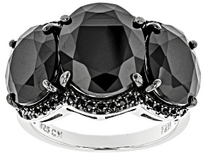 Black Spinel Rhodium Over Sterling Silver Ring 10.98ctw