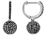 Black Spinel Rhodium Over Sterling Silver Dangle Earrings 1.69ctw
