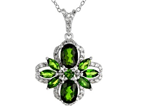 Green Russian Chrome Diopside Rhodium Over Sterling Silver Pendant With Chain 2.81ctw