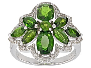Green Russian Chrome Diopside Rhodium Over Sterling Silver Ring 3.95ctw
