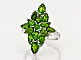 Green Russian Chrome Diopside Rhodium Over Sterling Silver Ring 3.56ctw