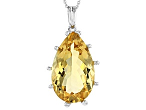 Yellow Brazilian Citrine Rhodium Over Sterling Silver Solitaire Pendant With Chain 20.00ct