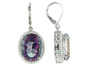 Multi Color Quartz Rhodium Over Sterling Silver Dangle Earrings 16.75ctw