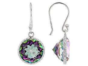 Multi Color Quartz Rhodium Over Sterling Silver Solitaire Earrings 8.00ctw