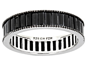 Black Spinel Rhodium Over Sterling Silver Eternity Band Ring 3.14ctw