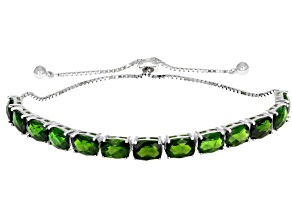 Green Russian Chrome Diopside Rhodium Over Sterling Silver Adjustable Bolo Bracelet 11.05ctw