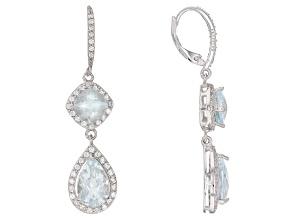 Blue Brazilian Aquamarine Rhodium Over Sterling Silver Dangle Earrings 7.55ctw