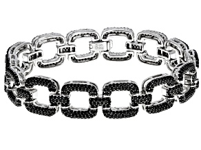 Black Spinel Rhodium Over Sterling Silver Link Bracelet 7.50ctw