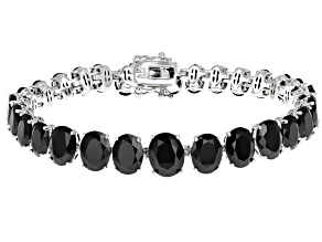 Black Spinel Rhodium Over Sterling Silver Graduated Bracelet 36.90ctw