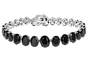 Black Spinel Rhodium Over Sterling Silver Graduated Bracelet 36.90ctw