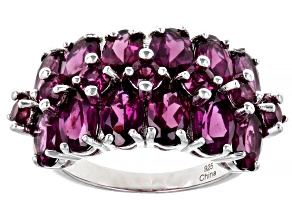 Raspberry Color Rhodolite Rhodium Over Sterling Silver Multi Row Ring 7.25ctw