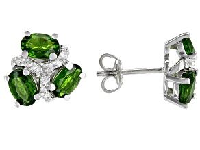 Green Russian Chrome Diopside Rhodium Over Sterling Silver Stud Earrings 2.95ctw