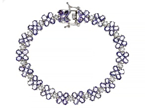 Blue Tanzanite Rhodium Over Sterling Silver Bracelet 13.00ctw