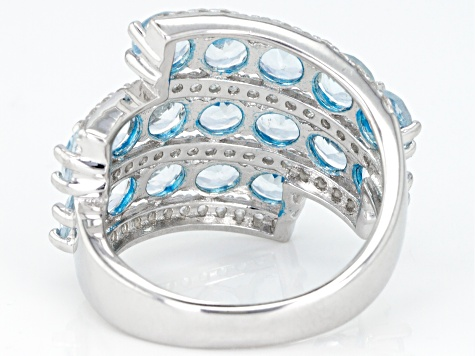 Blue Brazilian Aquamarine Rhodium Over Sterling Silver Ring 4.65ctw