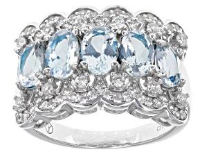 Blue Brazilian Aquamarine Rhodium Over Sterling Silver Ring 2.65ctw