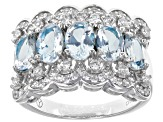 Blue Brazilian Aquamarine Rhodium Over Sterling Silver Ring 2.65ctw