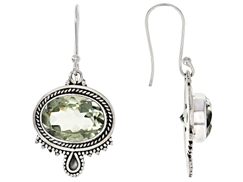 Green Brazilian Prasiolite Sterling Silver Solitaire Earrings 10.00ctw