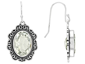 Green Prasiolite Sterling Silver Solitaire Earrings 10.00ctw