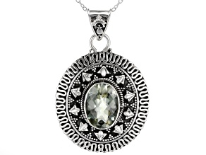 Green Brazilian Prasiolite Sterling Silver Solitaire Pendant With Chain. 5.00ct