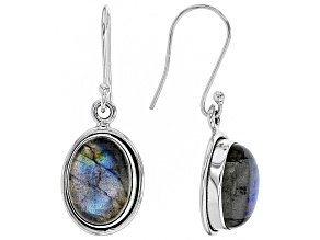 Gray Labradorite Sterling Silver Solitaire Earrings 14 x 10mm