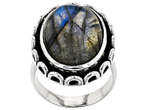 Labradorite Sterling Silver Solitaire Ring 18x13mm