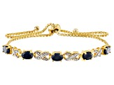Blue Sapphire 18K Yellow Gold Over Sterling Silver Bolo Adjustable Bracelet 2.51ctw