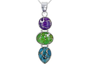 Blue Turquoise Sterling Silver 3-Stone Pendant With Chain