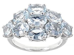Blue Aquamarine Rhodium Over Sterling Silver Ring 6.35ctw