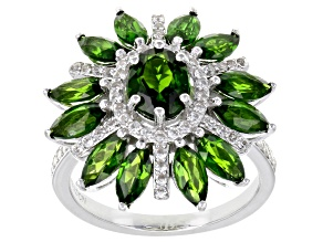 Green Russian Chrome Diopside Rhodium Over Sterling Silver Ring 5.03ctw