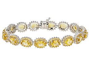 Yellow Brazilian Citrine Rhodium Over Sterling Silver Bracelet 20.88ctw