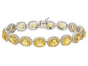 Yellow Brazilian Citrine Rhodium Over Sterling Silver Bracelet 20.88ctw