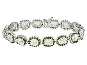 Green Brazilian Prasiolite Rhodium Over Sterling Silver Bracelet 20.01ctw