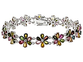 Multi Color Tourmaline Rhodium Over Sterling Silver Floral Bracelet 18.88ctw