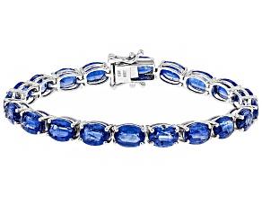 Blue Nepalese Kyanite Rhodium Over Sterling Silver Tennis Bracelet 35.49ctw