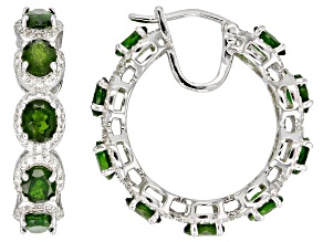 Green Russian Chrome Diopside Rhodium Over Sterling Silver Hoop Earrings 11.50ctw
