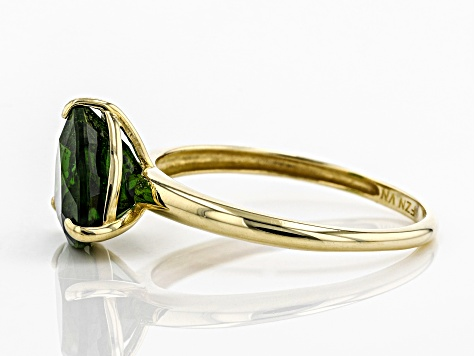 Green Russian Chrome Diopside 10K Yellow Gold Solitaire Ring 2.30ct
