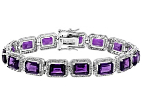 Purple African Amethyst Rhodium Over Sterling Silver Tennis Bracelet 30.45ctw