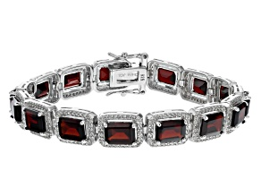 Red Garnet Rhodium Over Sterling Silver Tennis Bracelet 30.46ctw
