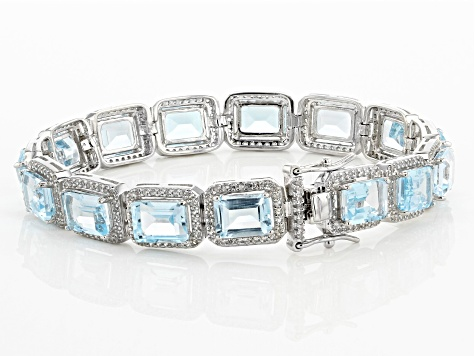 Sky Blue Topaz Rhodium Over Sterling Silver Tennis Bracelet 27.25ctw