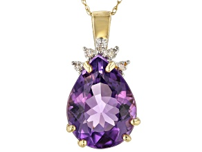Purple Brazilian Amethyst 10K Yellow Gold Pendant With Chain 5.20ctw