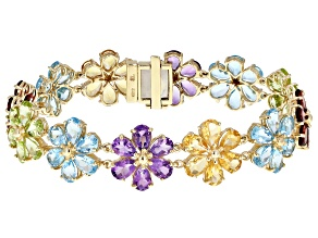 Blue Topaz 10K Yellow Gold Bracelet 31.80ctw
