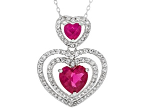 Red Lab Created Ruby Rhodium Over Sterling Silver Heart Pendant with Chain 2.05ctw