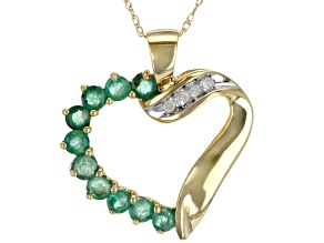 Green Indian Emerald 10K Yellow Gold Heart Pendant With Chain 1.02ctw