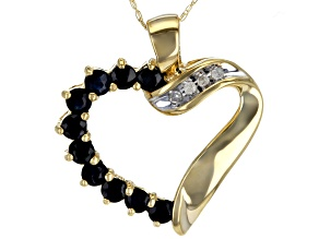 Blue Sapphire 10K Yellow Gold Heart Pendant With Chain 1.02ctw