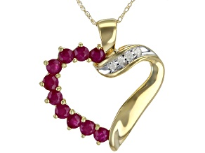 Red Indian Ruby 10K Yellow Gold Heart Pendant With Chain 1.02ctw