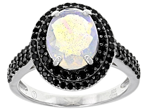 Multi Color Ethiopian Opal Rhodium Over Sterling Silver Ring 2.28ctw